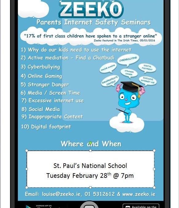 Parent's Internet Safety Seminar -28th February @7pm