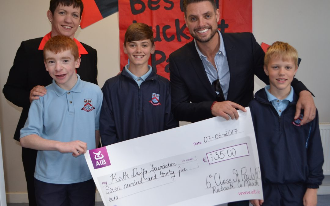 Sixth Class Donation to Keith Duffy Foundation